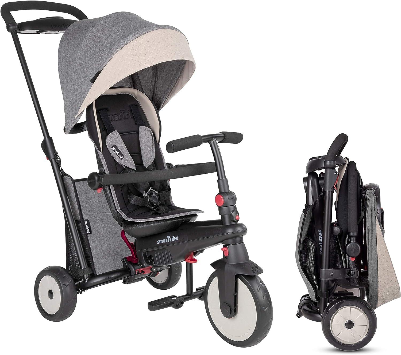 SMARTRIKE STR5 Triciclo Plegable con Carrito Certificado para niños de 1,2,3 años con Bordado Personalizado, Triciclo multietapa 7 en 1 (Gris)