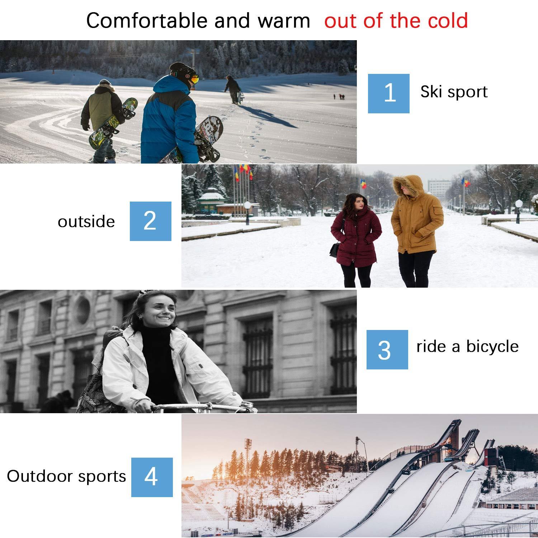 U/&X Set di sciarpe e guanti per cappello unisex cappello a cuffia inclinato in maglia calda Sciarpa scaldacollo per sciatori e guanti touchscreen per gli sport invernali allaperto