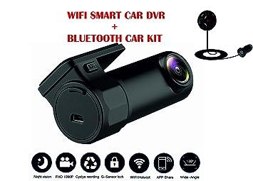 Dash Cam FHD 1080p Mini coche DVR cámara 360 ° rotación integrado Wi-Fi cámara