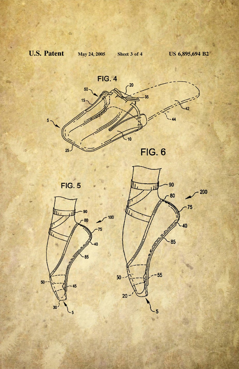 Framable Patent Art The Original Ready to Frame D/écor Ballet Slipper Dance Shoe Footwear 11in by 17in Patent Art Poster Print Parchment PAPSSP49PR