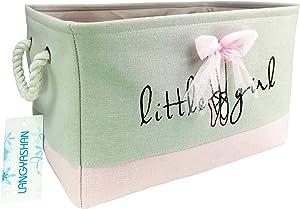 Rectangular Storage Basket Collapse Canvas Fabric Cartoon Storage Bin with Handles for Organizing Home/Kitchen/Kids Toy/Office/Closet/Shelf Baskets (Rec lace)