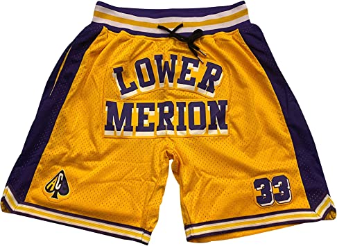 Mens Lower Merion #33 High School Basketball Shorts Sports Pants Yellow