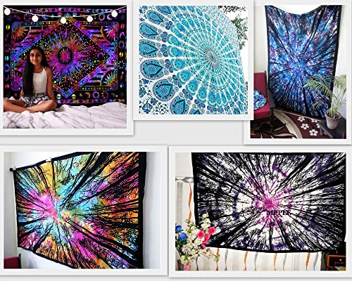 FUTURE HANDMADE Wholesale 5 Twin Tapestries Wall Hanging Psychedelic Mandala Tapestry Beach Throw Wall Tapestry Sun Moon and Stars Tapestry Wholesale 100 Cotton Bedspreads