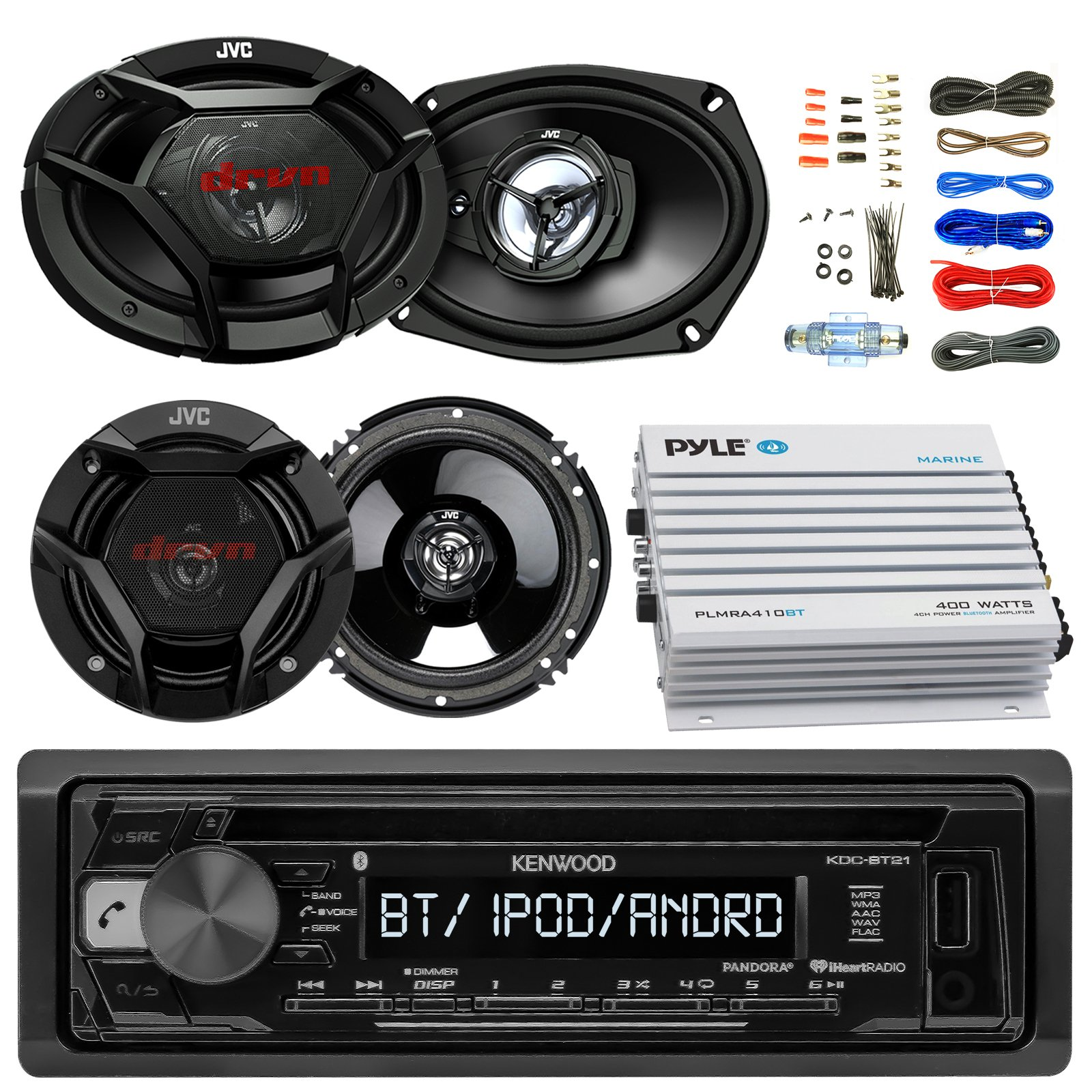 Kenwood KDCBT21 Car CD Player Receiver Bluetooth USB AUX Radio - Bundle Combo With 2x JVC 6x9'' 3-Way Vehicle Coaxial Speakers + 2x 6.5'' Inch 2-Way Audio Speakers + 4-Channel Amplifier + Amp Kit