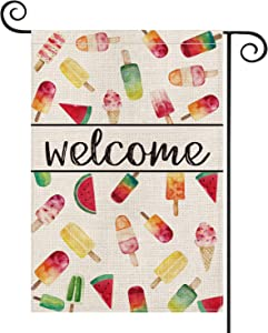 AVOIN Welcome Ice Cream Popsicle Garden Flag Vertical Double Sided, Summer Watermelon Flag Yard Outdoor Decoration 12.5 x 18 Inch