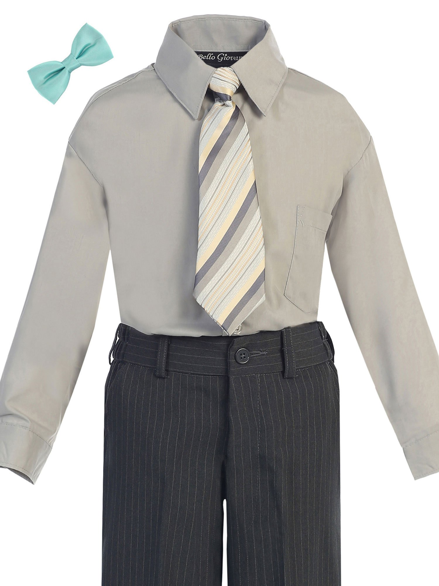 Bello Giovane Boys Silver Dress Shirt with Tie Set 2T-7 (Pick Free Bow Tie) (3T, Tiffany Blue) by Bello Giovane