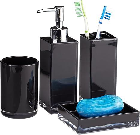 Relaxdays Accessoires salle de bain Set 4 pi/èces distributeur savon gobelet brosse /à dent porte-savon plastique noir