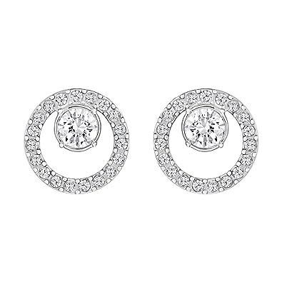 ff58bbc2d2cfc Swarovski Women's Rhodium Plating and White Crystal Creativity Circle  Pierced Earrings