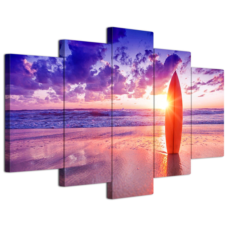 【リブラLibra】 5パネルセット アートパネル インテリアアート 海の景色 キャンバス絵画 (木枠付きの完成品) (L, LP1758) B075VL1YHR Large|LP1758 LP1758 Large