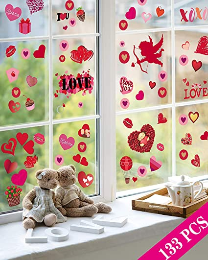 Valentine/'s Day Window Clings  COLORFUL DINOSAURS