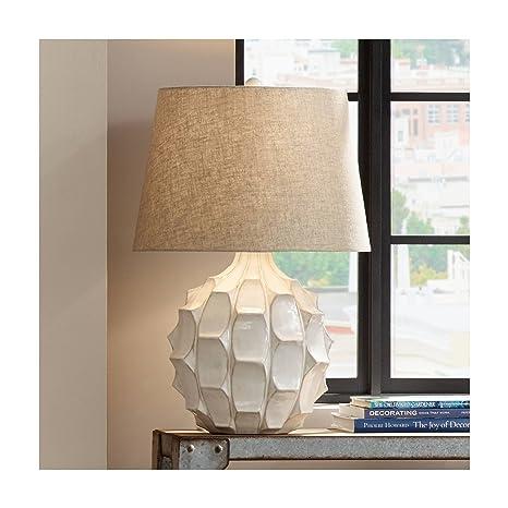 234a7b5d04c5 Cosgrove Mid Century Modern Table Lamp Ceramic White Glaze Light Brown Linen  Drum Shade for Living Room Family Bedroom - Possini Euro Design - -  Amazon.com