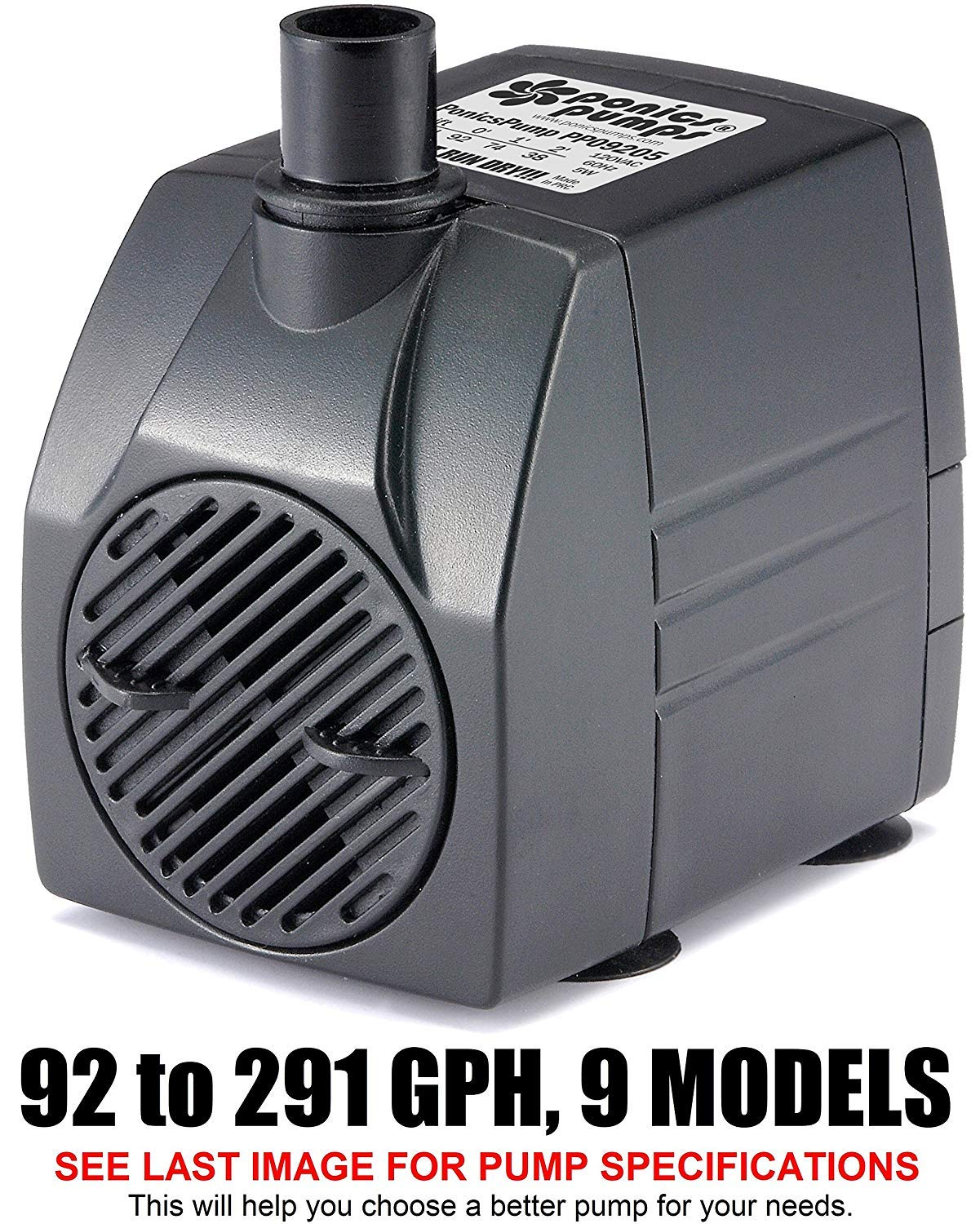 B00NCGX330 PonicsPump PP09205: 92 GPH Submersible Pump with 5' Cord - 5W… for Fountains, Statuary, Aquariums & more. Comes with 1 year limited warranty. 81xdqKiW2zL