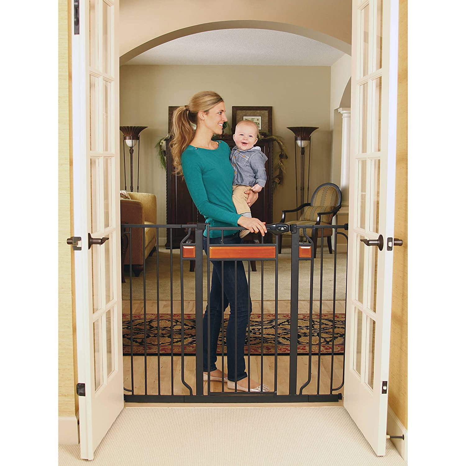 Regalo Home Accents Extra Tall Walk Thru Gate, Hardwood and Steel 2 Pack
