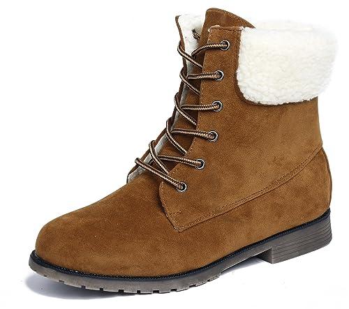 ee17f0a34 AgeeMi Shoes Mujer Sólido Suede Cordones Tacón Bajo Caña Baja Botas ...