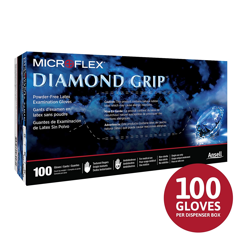 L naturel 100 Microflex Diamond Grip Gants en latex non poudr/és Longueur 24,1 cm /Épaisseur 6,3 mm