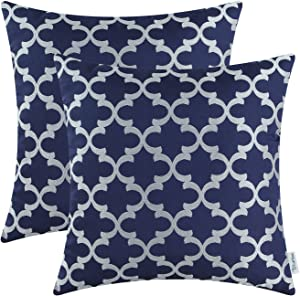 CaliTime Pack of 2 Soft Throw Pillow Covers Cases for Couch Sofa Home Decoration Modern Quatrefoil Trellis Geometric 18 X 18 Inches Navy Blue