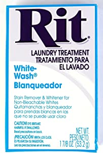 Rit Dye Laundry Treatment White-wash Stain Remover and Whitener Powder, 1-7/8 oz, White, 10-Pack