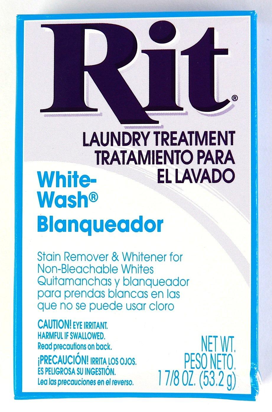 Rit Dye Laundry Treatment White-wash Stain Remover and Whitener Powder, 1-7/8 oz, White, 3-Pack