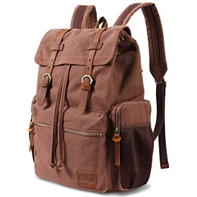 684c9cf0b Lifewit 17 Inch Canvas Laptop Backpack - Unisex Vintage Leather, Casual School  College Bags,