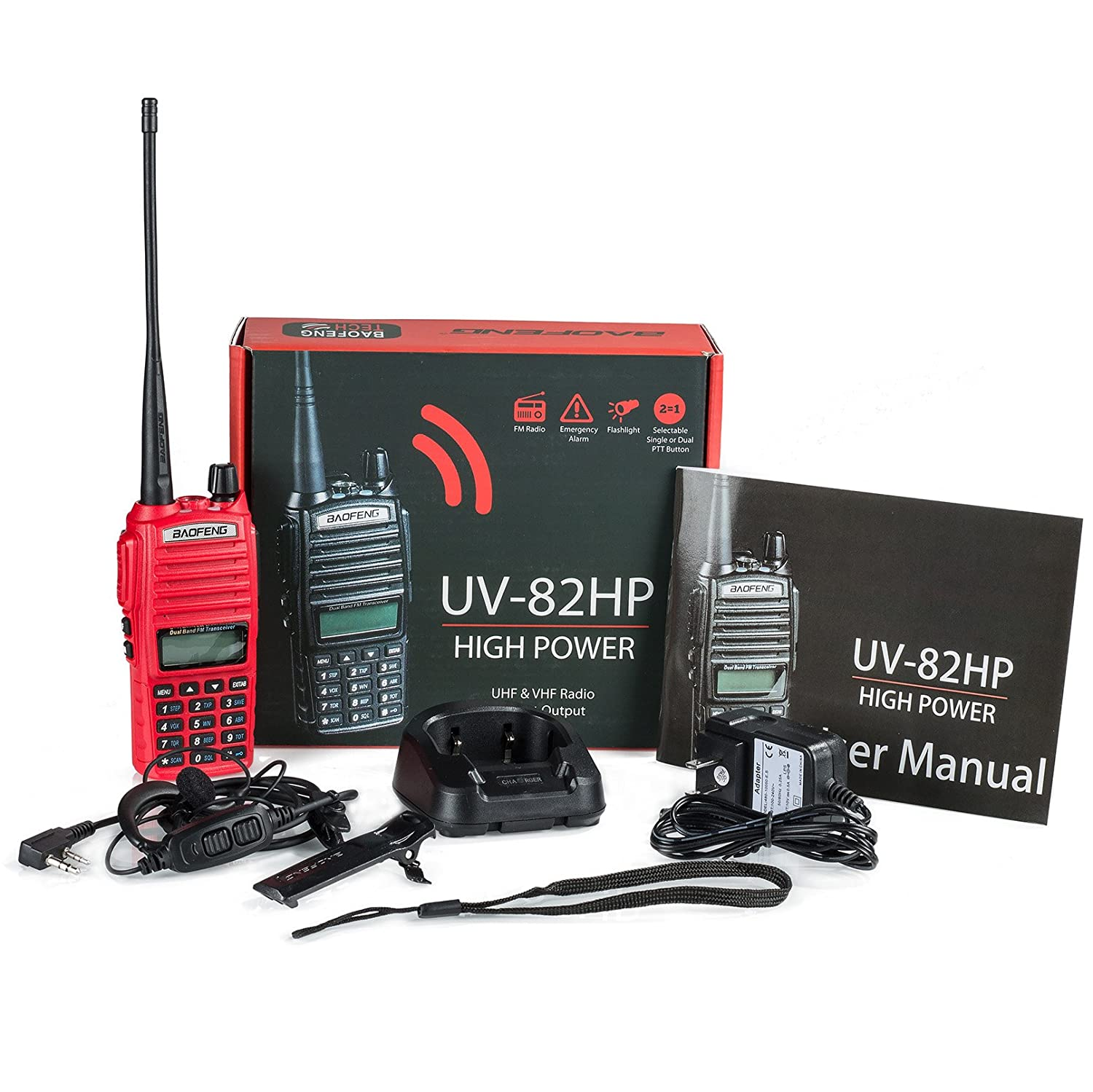 BaoFeng UV-82HP RED High Power Dual Band Radio 136-174mhz VHF 400-520mhz UHF Amateur Ham Portable Two-Way