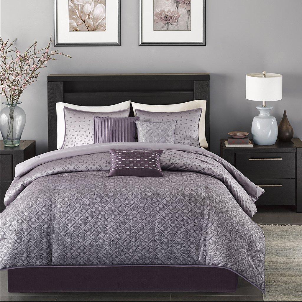 amazoncom madison park mp biloxi  piece comforter set  - amazoncom madison park mp biloxi  piece comforter set queenpurple home  kitchen