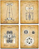 Original Tesla Patent Art Prints - Set of Four Photos (8x10) Unframed - Great Gift and Decor for Home Under $15