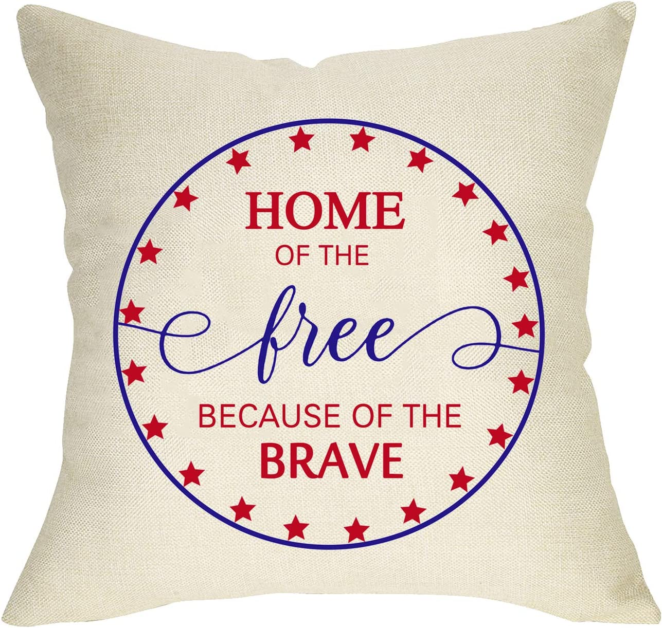 Fbcoo Home of the Free Because of the Brave Home Decorative Throw Pillow Cover, America Patriotic Cushion Case Star 4th of July Independence Day Sign, Holiday Home Decorations Pillowcase Decor 18 x 18