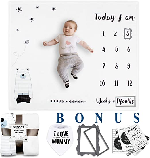 Newborn Baby Milestone Blanket Photo Photography Props Letter Backdrop CloDE