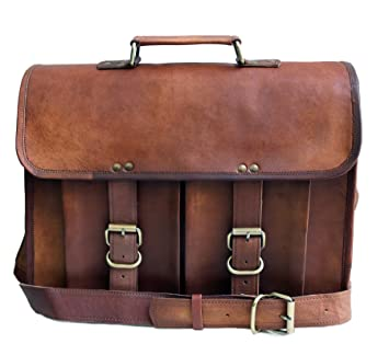 ddd85ed404 38,1 cm Cuir véritable vieilli pour homme sacoche pour ordinateur portable  Sac messager en