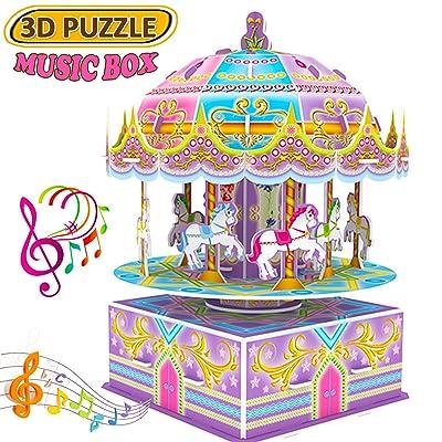 3D Whirligig Jigsaw Puzzles Casse-têtes for Children, boîte de musique Carousel Horse Puzzle Modèle de Construction de Bricolage Apprentissage Précoce Jouets éducatifs Jouets Enfants cadeau d'