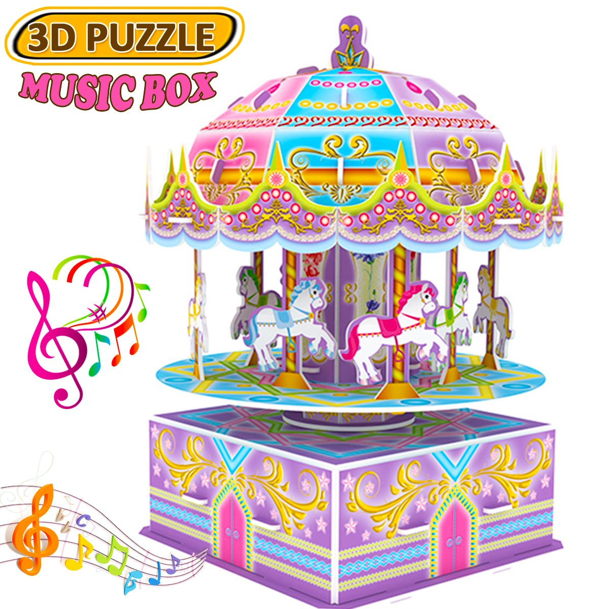 GBD 3D Carousel Puzzle for Kids,Whirligig Jigsaw Music Box DIY Building Model Brain Teasers Early Learning Educational Game for Kids Girls Boys Toys Birthday Summer Holiday Gifts-29 Pieces Review