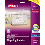 """Avery Matte Frosted Clear Address Labels for Inkjet Printers, 3-1/3"""" x 4"""", 60 Labels (18664)"""