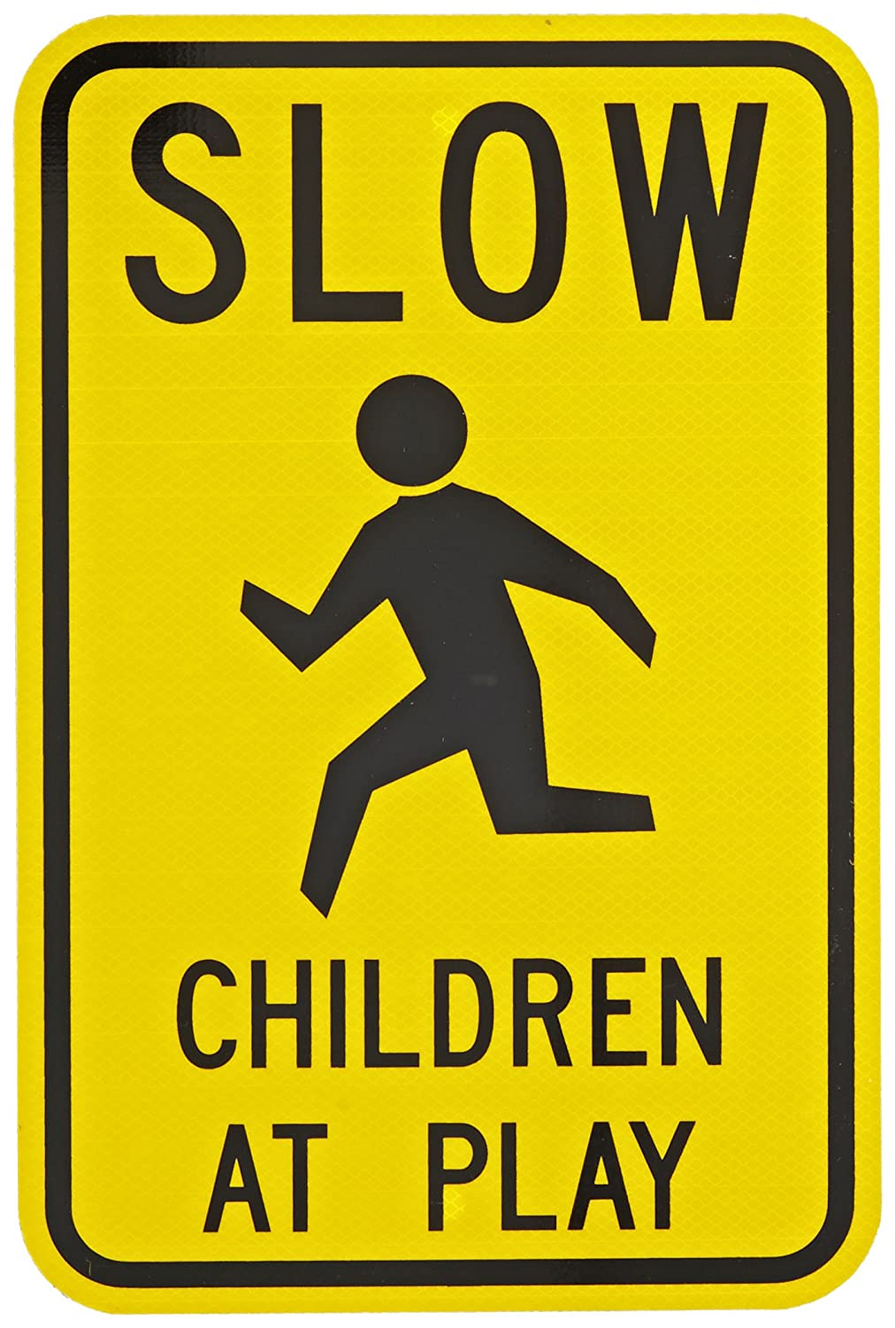 12 Width x 18 Height Tapco W9-12 Engineer Grade Prismatic Rectangular School Sign LegendSLOW CHILDREN AT PLAY with Symbol Aluminum Black on Yellow