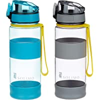 Amazon Brand - Solimo Sports Water Bottles, 470 ml, Set of 2