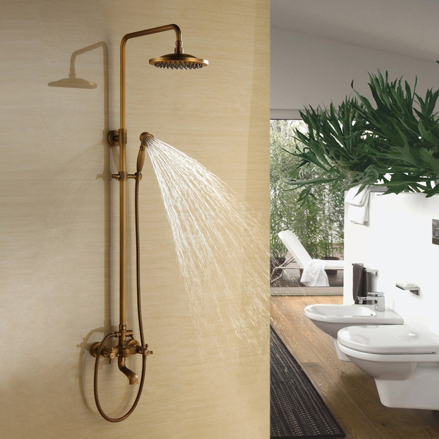 """Ouku Bathroom Shower System 8"""" Fixed Round Shower Head and Handheld"""