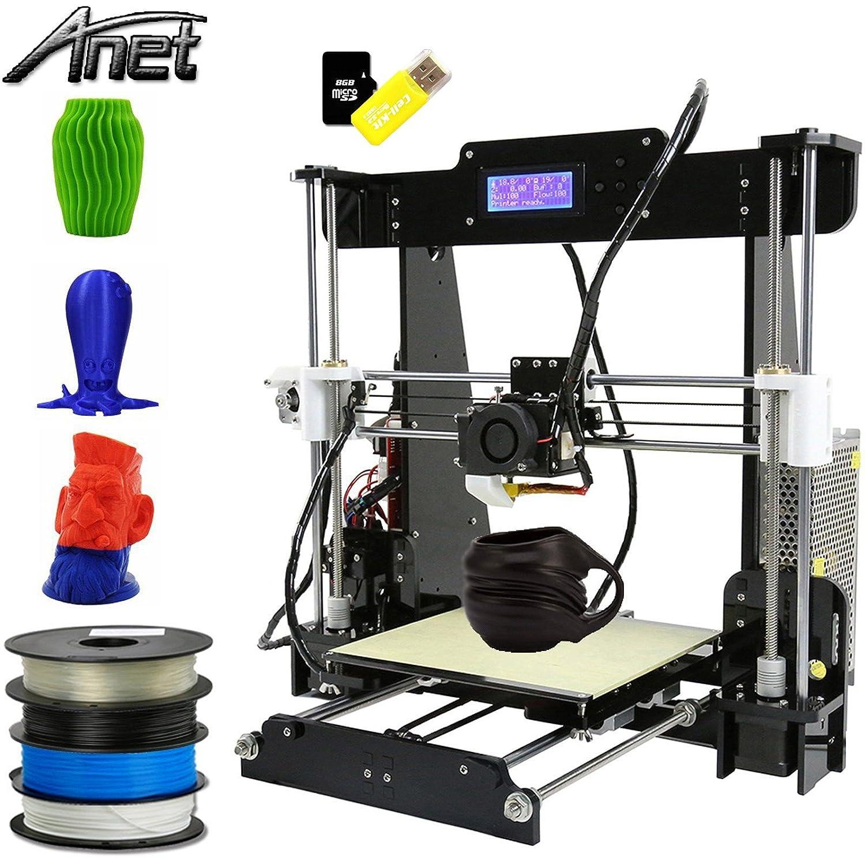 Anet A8 3D Drucker, Prusa I3 3D Printer DIY, 3D-Drucker Kit, Upgradest High Precision Selbstbauen 3D Drucker mit LCD Bildschirm 61200