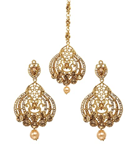 Engagement & Wedding Bindhani Indian Wedding Head Gold Plated Jewelry Maang Tikka Earrings For Women Bridal & Wedding Party Jewelry