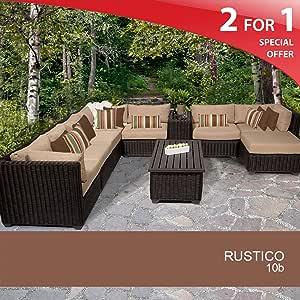 Rustico 10 Piece Outdoor Wicker Patio Furniture Set - Wheat 10B 2 Yr Fade Warranty