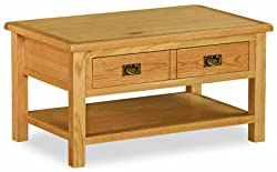 Roseland Furniture Lanner Oak Coffee Table with Drawer - Rustic Waxed Oak