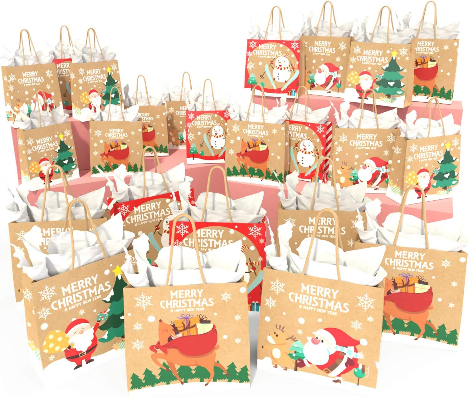 KD KIDPAR 24pcs Christmas Kraft Gift Bags Set Christmas Prints Bags with 24 Tissue Papers, Goody Bags, Xmas Gift Bags, School Classrooms and Party Favors