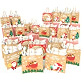 KD KIDPAR 24pcs Christmas Kraft Gift Bags Set Christmas Prints Bags with 24 Tissue Papers, Goody Bags, Xmas Gift Bags…