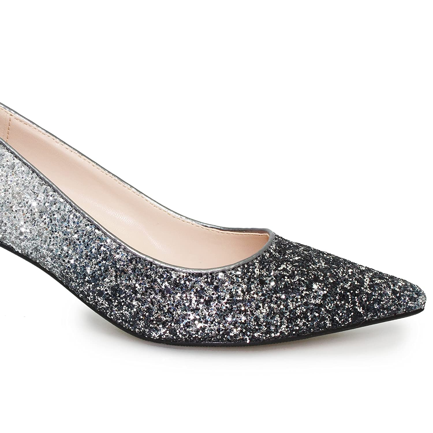 Lunar Women's Dash Glitter Court Shoe With Low Heel In Grey Pewter Two Tone Sizes 3 4 5 6 7 8 B078KGH2DV