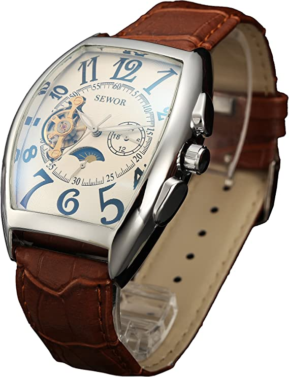 SEWOR Mens Automatic Business Dress Tonneau Shaped Moon Phase Wrist Watch for Man