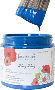 Chalk Style Paint - for Furniture, Home Decor, Crafts - Eco-Friendly - All-in-One - No Wax Needed - Lustrum Collection Colors (Bling Bling [Royal Blue], Pint (16 oz))