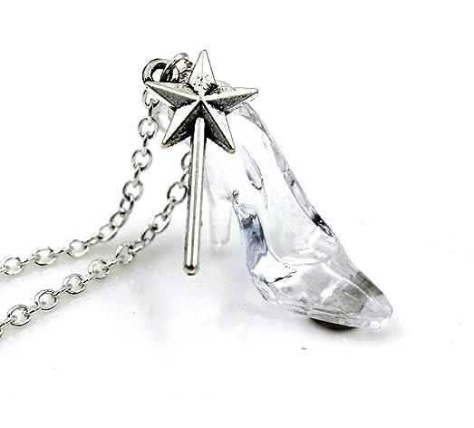 Amazon sweet fairy tale cinderella princess glass slipper sweet fairy tale cinderella princess glass slipper necklace pendant bibity bobity boo fashion jewelry aloadofball Gallery