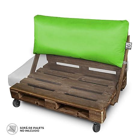 Happers Cojines para Palets 120x43 cm (tamaños para europalet) enfundados con Tejido para Exterior Naylim en Color Verde, 120x43x25 cm