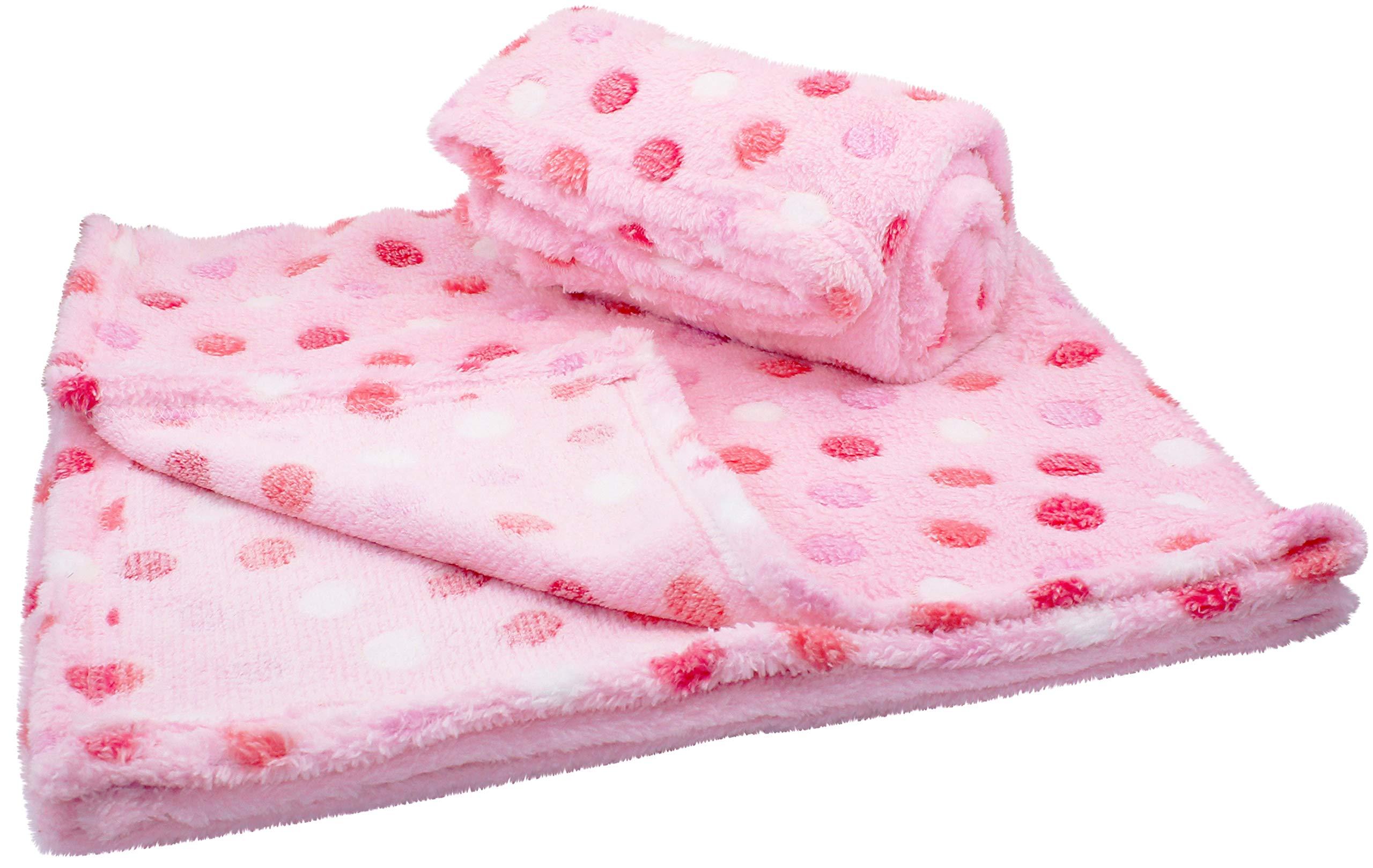 30x30 Inch Plush Fleece Girls Baby Blanket - Polka Dot Blankets by bogo Brands (Set of 2 - Pink)