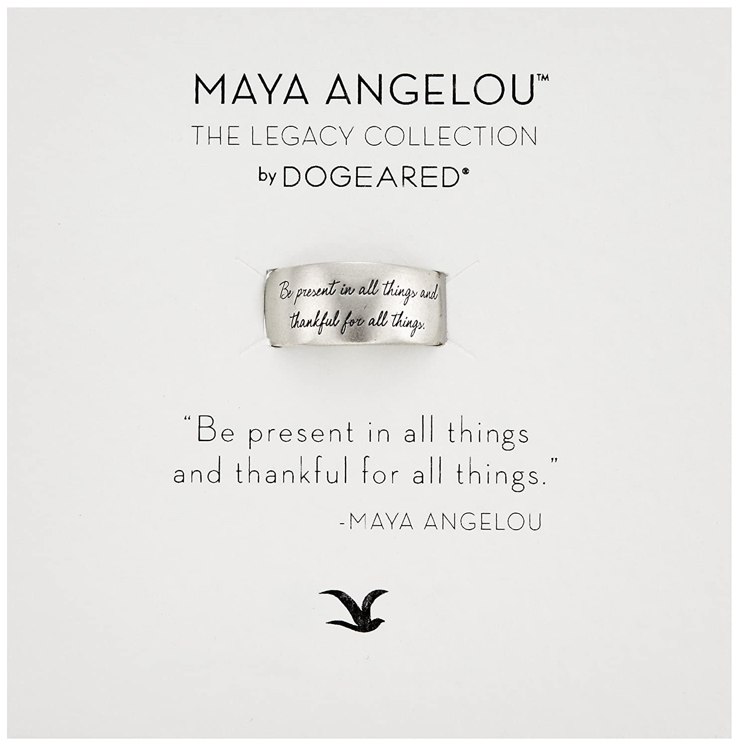 Dogeared Maya Angelou Be Present In All Things Sterling Silver Engraved Band Ring, Size 6 LSR028-06-01