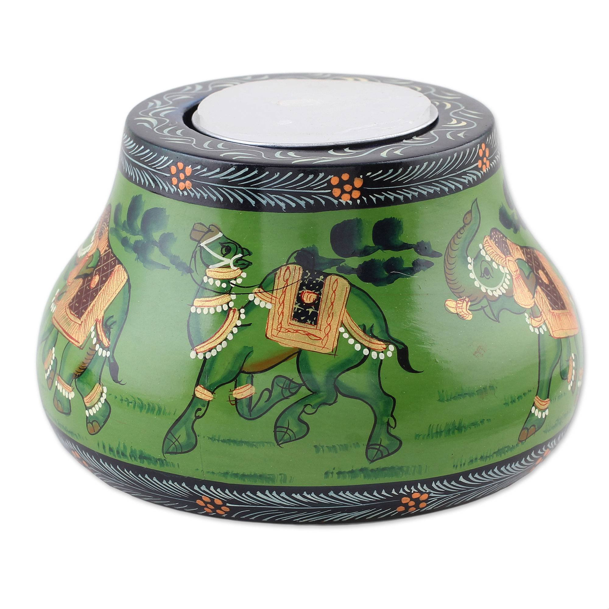 NOVICA Animal Themed Wood Candle Holder, Green 'Animal Journey in Green'