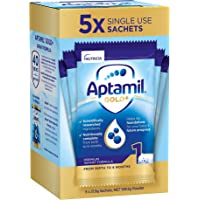 Aptamil Gold+ 1 Baby Infant Formula Powder Sachets From Birth to 6 Months 5 Pack, 109.5 g, No Flavor Available